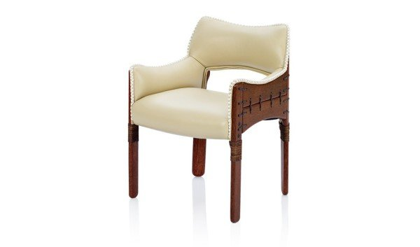 Leather Upholstered Chair with Leather details